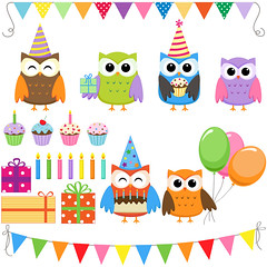 Party owls (Yulia_M) Tags: birthday family party art illustration scrapbook scrapbooking children cards design cartoon clip clipart kawaii owl download etsy supplies greeting invitations printable сute digitalclipart
