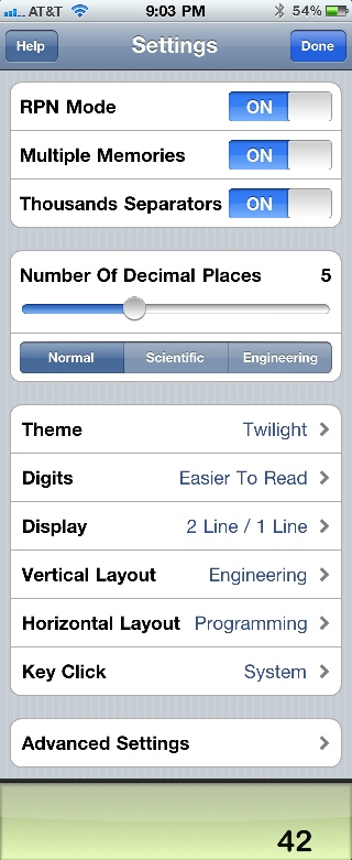 PCalc settings