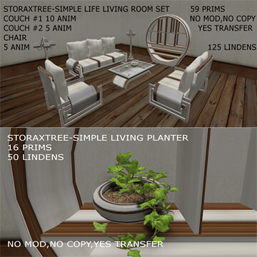 Storaxtree Simple Life Living Room Set, 125L$ and matching planter 50L$