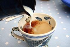Milk, no sugar. (Tara-Leigh) Tags: blue milk nice afternoon yum tea drink sugar spotty pour afternoontea polkadot comfortfood canon1000d