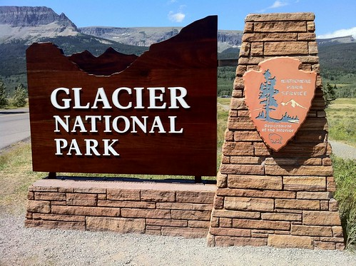 Entrance sign to Glacier National Park at St Mary, Montana