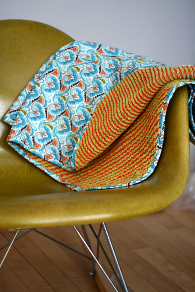 Heirloom Cut Baby Blankie on Chair