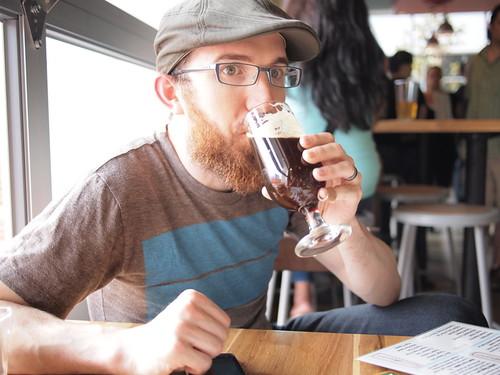 Steve drinking Bruery Cuir