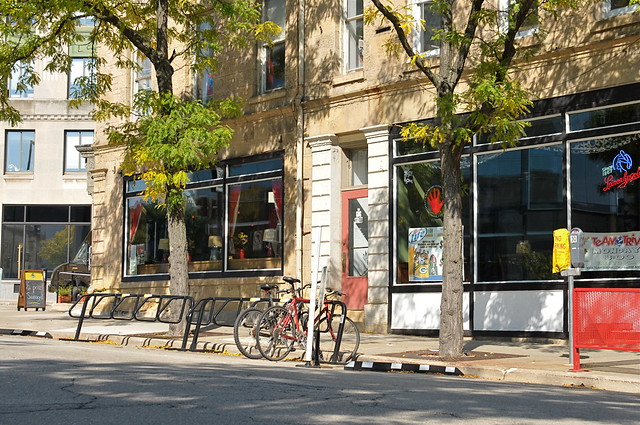 On-Street bike parking.  King St, Madison WI (DS3_7338)
