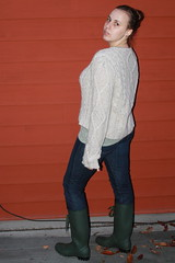 Outfit - rainboots, jeans, aran fisherman's sweater