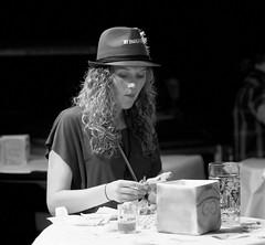 Girl with hat (peter.a.klein (Boulanger-Croissant)) Tags: blackandwhite bw food woman beer girl hat noiretblanc oktoberfest snack mug stein octoberfest
