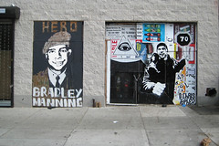 Bradley Manning & Bidder #70 (Poster Boy NYC) Tags: street new york nyc streetart ny newyork eye art collage subway poster army rebel us tim julian mural freestyle truth paint all cut ad vinyl advertisement vandal seeing antiwar hero advert illegal roller mta government subvert impromptu 70 codepink activist razor corrupt massey posterboy vandalized whistleblower blairmountain wikileaks dechristopher bidder70 assange bradleymanning energyprotestcigarettead