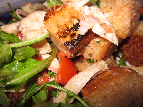 Grilled bread salad and chicken
