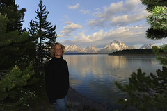 Me at campsite (Deby Dixon) Tags: camping trees lake selfportrait snow mountains reflection nature water clouds landscape travels view scenic adventure snakeriver wyoming tetons campground exploration deby campsite allrightsreserved oxbow grandtetonnationalpark jacksonlake 2011 naturephotographer debydixon debydixonphotography