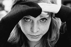 the look (wunderskatz) Tags: portrait bw woman white black film girl monochrome iso400 xp2 romania ilford brasov missshadow