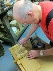 Norb squaring my scrollsaw-cut letter on a wooden base. (Nick Sherman) Tags: museum pattern hamilton printing wi template woodtype tworivers brylski norbbrylski