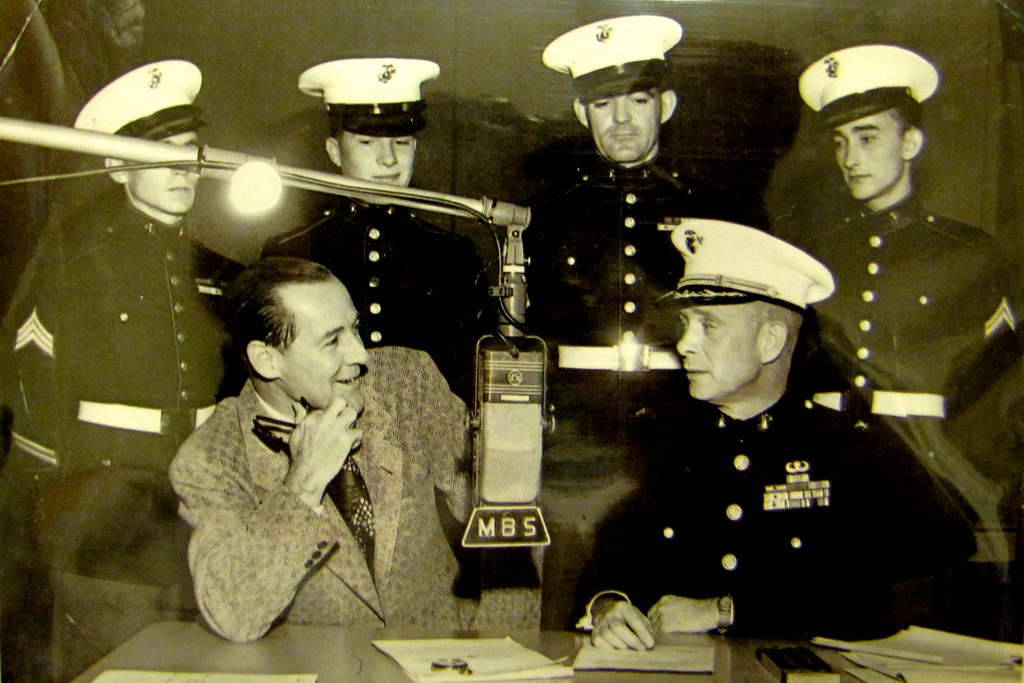 1950s - Neil & soldiers radio interview - knowing smirk later perfected by Johnny Carson