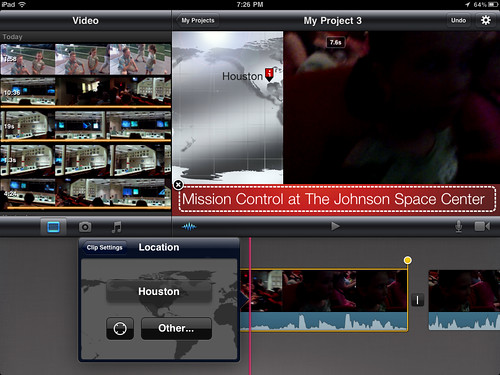 10 (iMovie for iPad) - Select the desired location