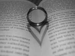 Heart shaped ring (seeking_scampi) Tags: shadow white distortion black love silver hearts heart lovers ring page lover heartbreak