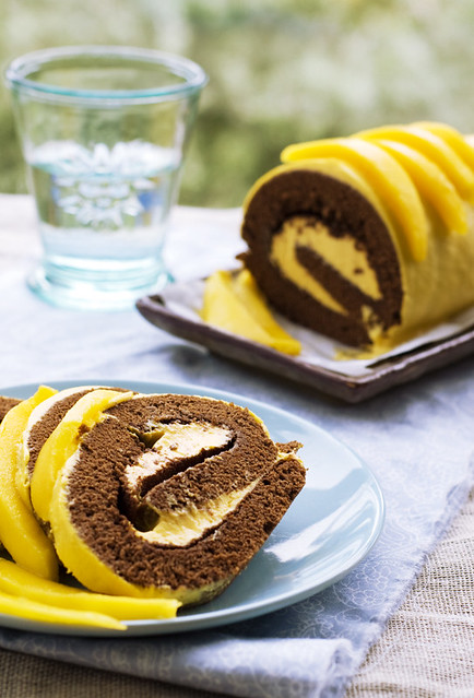 Carob Flour and mango roll