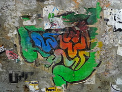 (Gabri Le Cabri) Tags: blue red black color green pasteup amsterdam yellow grey box torn intestine