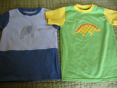 dino and elephant applique tees