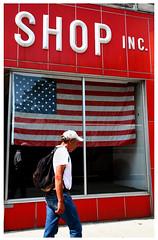 DECLARATIONS (Michael Ast) Tags: new york blue red white ny shop america flag pedestrian american binghamton