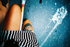 (raquel fialho) Tags: barcelona summer selfportrait film me bike bicycle tattoo 35mm lomo lca xpro lomography crossprocess kodakelitechrome100