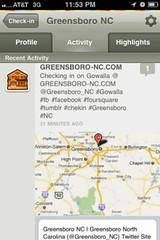 Gowalla iPhone screenshot Greensboro NC at GREENSBORO-NC.COM