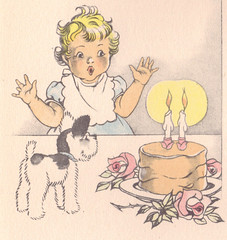 baby and birthday cake with two candles (katinthecupboard) Tags: dog stuffedtoy babies birthdaycake childrenplaying vintagechildrensillustrations janetlaurascott scottjanetlaura keepsakealbum vintagebabyalbum