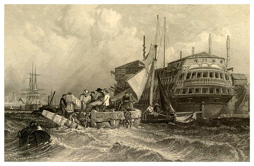 005- Puerto de Portsmouth- Gran Bretaña.-Stanfield's coast scenery…1836- Clarkson Stanfield