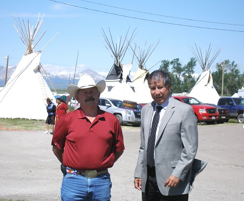 Ross Racine, Intertribal Agriculture Council executive director, and Undersecretary Ed Avalos, attend the 60th Annual North American Indian Days Celebration on the Blackfeet Reservation in Montana on July 8.