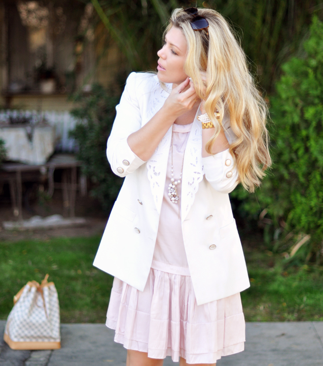 light pink dress and white blazer