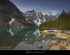 "Happy International Friendship Day!-Feliz Dia Internacional de la Amistad! (Joalhi ""Back in Miami"") Tags: canada reflections alberta lakelouise morainelake valleyofthetenpeaks canon5dmark coth5"