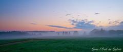 C'est la faute de la brume si.... (Sous l'Oeil de Sylvie) Tags: morning sky mist fog clouds rural sunrise farm couleurs ciel qubec nuage campagne ferme brume matin leverdesoleil panoramique beauce sigma1020mm k7 stemarguerite ruralit sousloeildesylvie