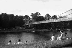 Brownie 127 - Scary Bridge and Lake (HairyHippy) Tags: bridge film analog silver riverside kodak traditional 1956 analogue chemical bromide verichromepan brownie127