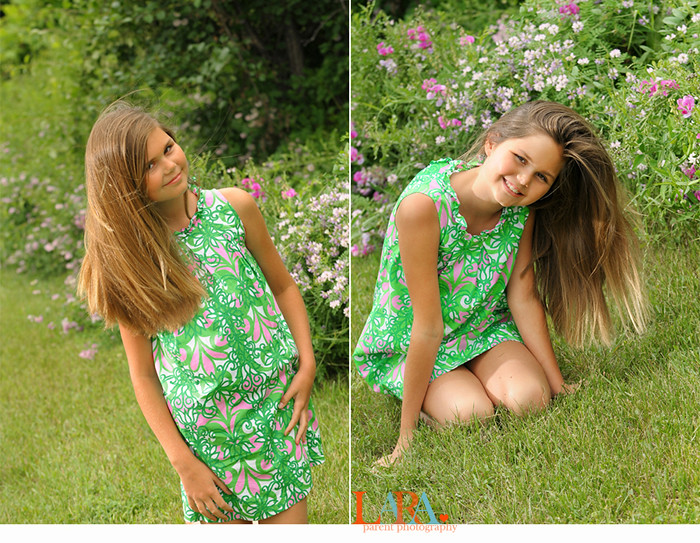 girl in lilly dress with flowers