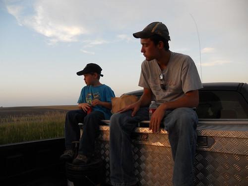 Ezra and Brandon eating