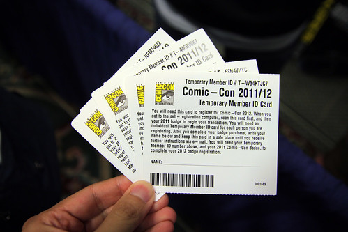 Comic Con 2012 Registration Cards #1669 to1672