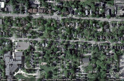 the home's historic West Side neighborhood in Ann Arbor (via Google Earth)