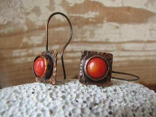 Unique Antiqued Copper & Coral Earrings