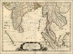 Pierre Du Val -  Partie Meridionale De L'Inde En deux Presqu'Isles l'une deca et l'autre Gange . . .1679