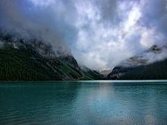 Lake Louise on a Cold, Rainy Morning (donjd2) Tags: rain day lakelouise banffnationalpark