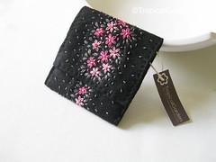 Hand Embroidered Flower Bed Felt Wallet - Black (TropicalGarden) Tags: pink flowers black floral design wallet embroidery decorative gray craft felt flowerbed accessories florals craftwork littlestuff handembroidered