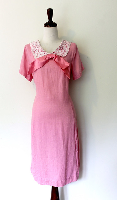 Satin Bow Girly Pink Shift Dress, vintage 1960s