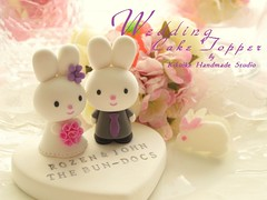 Wedding Cake Topper - cute rabbit with sweet heart (charles fukuyama) Tags: cute rabbit bunny handmade anniversary bouquet sweetheart lovely justmarried sculpted centerpieces cakedecoration weddingcaketopper customcaketopper fullveil