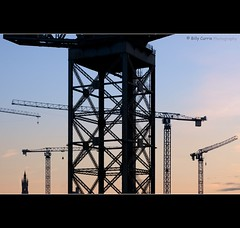 Glasgow University... (Billy Currie) Tags: building skyline dawn scotland site construction university lift crane glasgow steeple spire og heavy load lifting