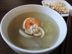 [photo-bowl of winter melon don qua lotus seed shrimp soup]