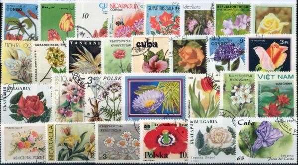 Známky - 50 rôznych, kvety a rastliny