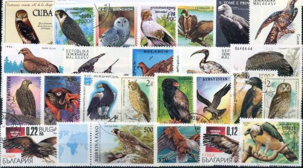 Známky - 50 rôznych, vtáky