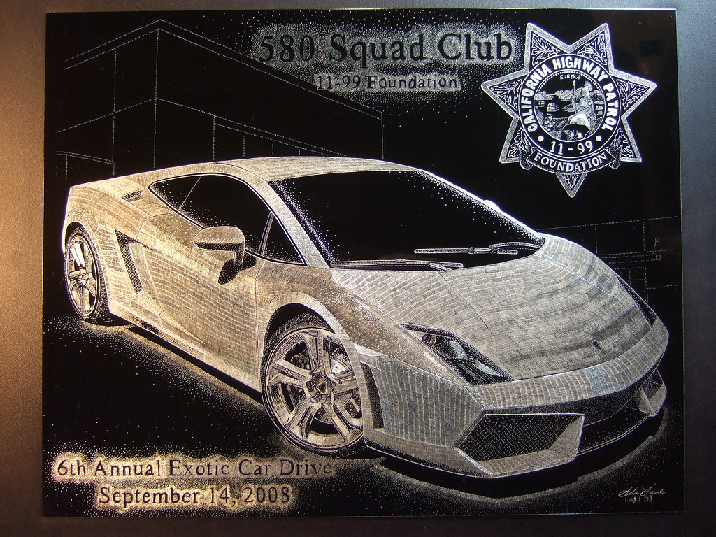 6th Annual (11-99 Foundation) Exotic Car Drive (hand engraved) by artist: Shawn Lisjack (Exotic Engravings)