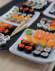 Sushi Weekend #2 (Shay Aaron) Tags: food white black sushi square cuisine japanese miniature raw dish bright handmade maki salmon mini row clear polymerclay fimo tiny eggs nigiri elegant wasabi 12th 112 assorted insideout dollhouse petit californiaroll oneinchscale shayaaron