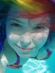 Freckled rainbow mermaid (Megan is me...) Tags: camera pink original light red portrait cute green apple water colors girl smile fashion yellow self hair happy photography grey spring amazing cool rainbow eyes colorful neon pretty colours underwater russell mckay bright turquoise unique ooak awesome flamingo meg under gray violet plum megan style bubbles smiley kawaii poppy refraction jerome mandarin colored freckles flowing mermaid dye multicolored punky dyed waterproof brightyellow flamingopink megface flowyhair meganisme meganyourface