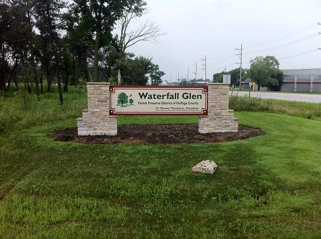 Sign at west entrance