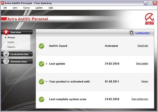 ร่มแดง เวอร์ชั่นฟรี Avira AntiVir Personal - Free Antivirus